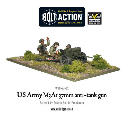 US Army M3A1 37mm anti-tank gun - Bolt Action - Warlord Games