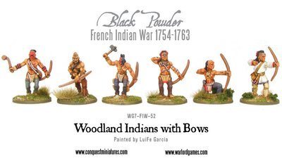 French Indian War - Woodland Indians with Bows (6) - Black Powder - Warlord Games