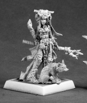 Feiya, Iconic Witch & Fox Familiar - Pathfinder Miniatures - Reaper Miniatures