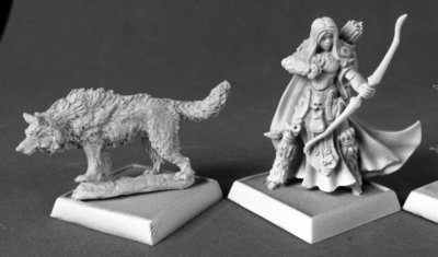 Adowyn & Leryn (Iconic Hunter & Wolf) - Pathfinder Miniatures - Reaper Miniatures