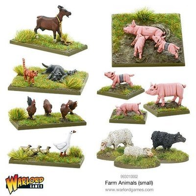 Farm Animals (small) - Tiere - Schwein, Ziege, Huhn, Gans, Schaf, Katze