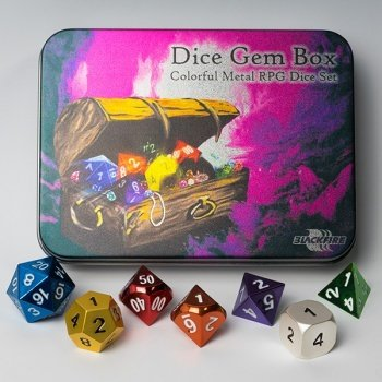 Metal Dice Set - Dice Gem Box (7 Dice) - Metallwürfel - Blackfire