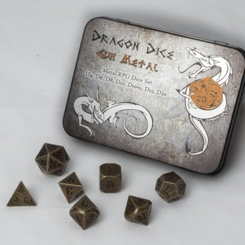 Metal Dice Set - Gun Metal (7 Dice) - Metallwürfel - Blackfire