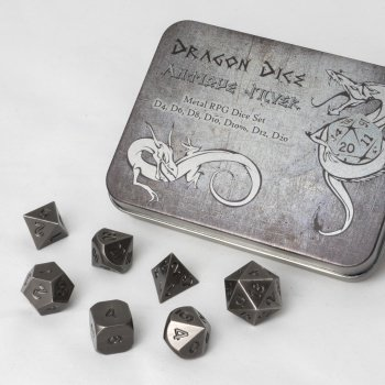 Metal Dice Set - Antique Silver (7 Dice) - Metallwürfel - Blackfire
