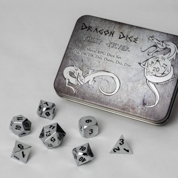 Metal Dice Set - Shiny Silver Silber (7 Dice) - Metallwürfel - Blackfire
