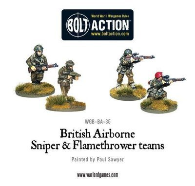 British Airborne Flamethrower and Sniper Teams - Bolt Action - Warlord Games