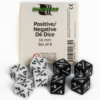 Positive/Negative D6 Dice 16 mm (8 Dice) - Blackfire