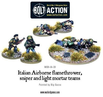 Italian Airborne flamethrower, sniper and light mortar teams - Allies - Bolt Action