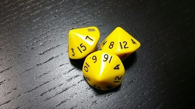 16-seitig Würfel - D16 Dice - Gelb-Schwarz