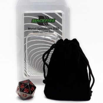 D20 Metal Spindown with velvet bag - Black - Metallwürfel