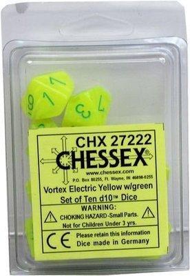 Vortex Electric Yellow - Opaque Set of Ten D10's (10) - Chessex
