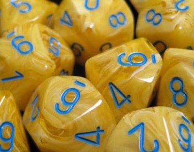 Vortex Yellow w/blue - Opaque Set of Ten D10's (10) - Chessex