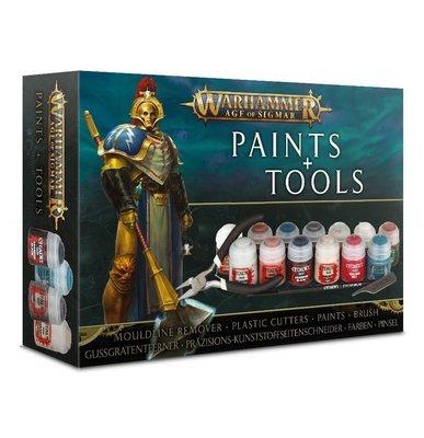 Set mit Farben und Werkzeugen für Warhammer Age of Sigmar Paints and Tools - Games Workshop