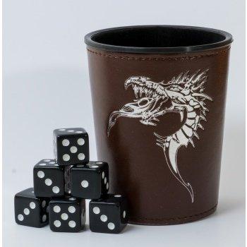 Dice Cup - Brown /w Dragon Emblem - Würfelbecher