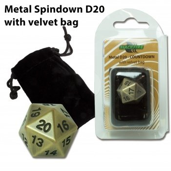 D20 Metal Countdown with velvet bag - Antique Gold - Metallwürfel