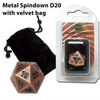 D20 Metal Countdown with velvet bag - Antique Copper - Metallwürfel