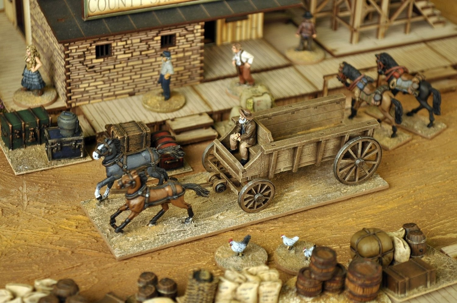 Wagon, driver,horse team and base - Dead Man's Hand