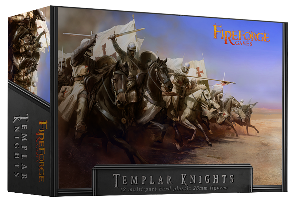 Templar Knights Cavalry (12 mounted plastic figures) - Deus Vult - Fireforge Games