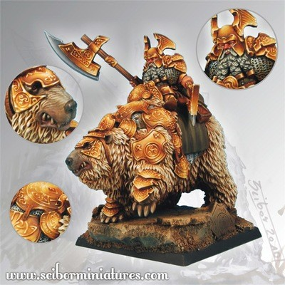 Dwarf General on War Bear - Scibor Miniatures