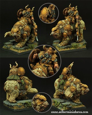 Dwarf Warrior on War Bear #1 - Scibor Miniatures