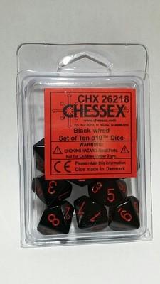 Schwarz/Rot - Opaque Set of Ten D10's (10) - Chessex