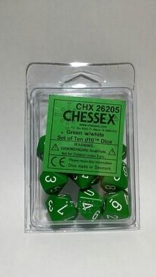 Grün/Weiss - Opaque Set of Ten D10's (10) - Chessex