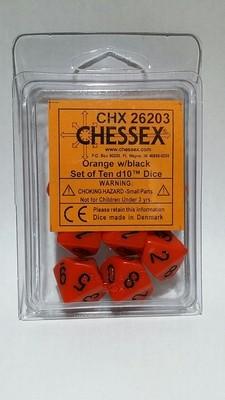 Orange/Schwarz - Opaque Set of Ten D10's (10) - Chessex