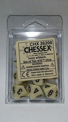 Elfenbein/Schwarz - Opaque Set of Ten D10's (10) - Chessex