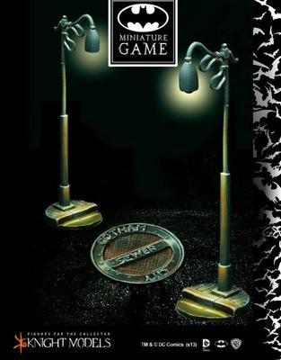 3 Kanaldeckel und 3 Laternenpfahl - Batman Miniature Game