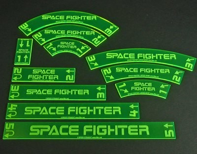 Space Fighter, Deluxe Gauge Set - Fluorescent Green - Litko