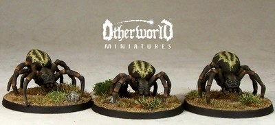 WE10a – Large Spiders v2 (3) - Otherworld Miniatures