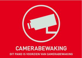 Waarschuwingssticker Camerabewaking 148 x 105 mm