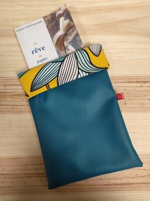 Protège livre simili bleu et fleur turquoise