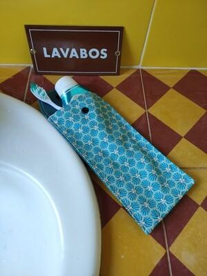 Protège brosse à dents et dentifrice trèfles bleu