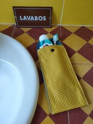 Protège brosse à dents et dentifrice moutarde et petits pois