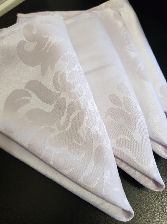 Servet  damasc alb 38x38 cm,