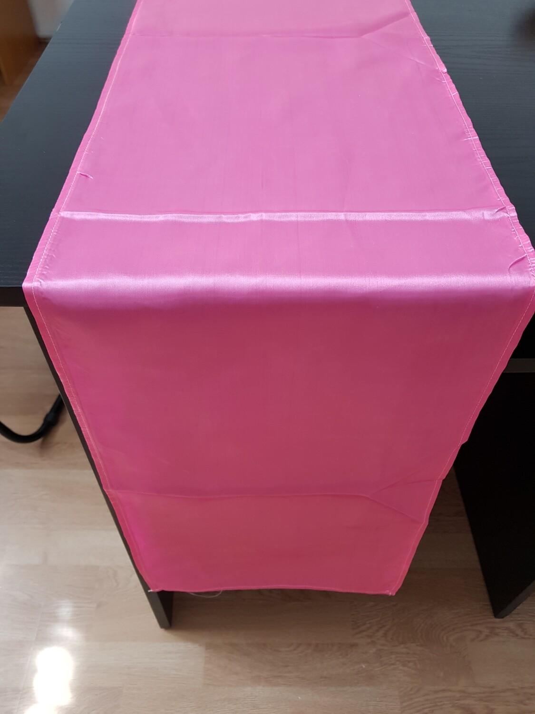 Traversa masa satin roz 30x250 cm