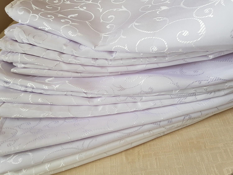 Servet brocart alb, model cerculete 35x35 cm