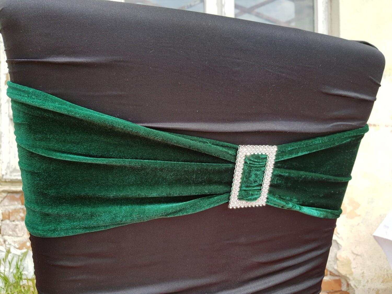 Esarfa elastica, catifea verde inchis