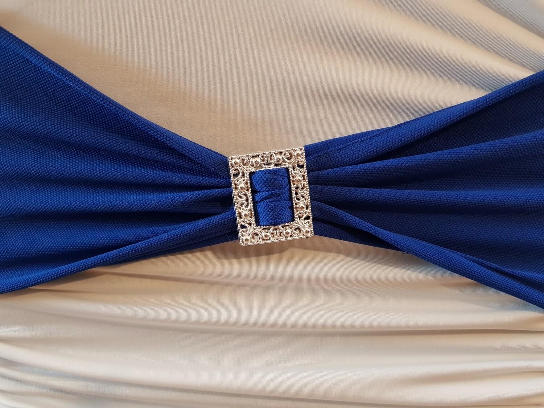 Esarfe elastica albastra cu catarama argintie