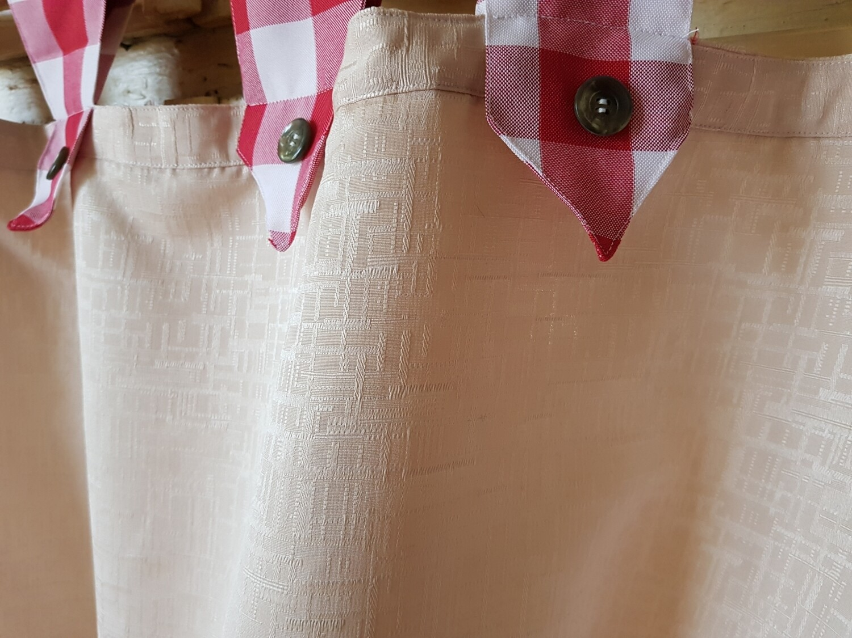 Draperie scurta pentru bucatarie crem, alb si rosu