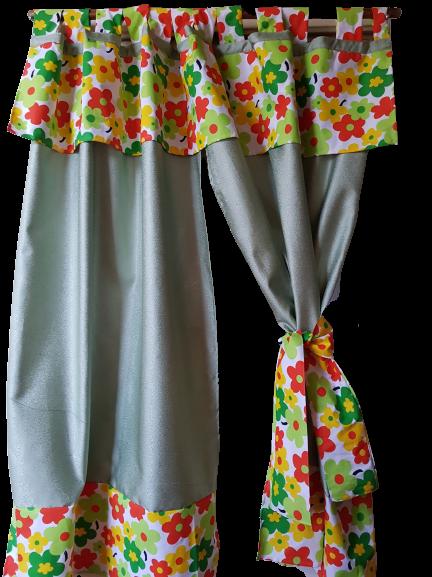 Draperie scurta ( verde & flori) pentru bucatarie