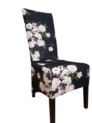 Huse scurte pentru scaune fundal negru cu trandafiri