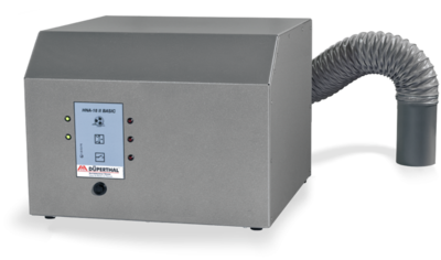 Filter unit for vapours of solvents with whisper-quiet ventilator and exhaust air