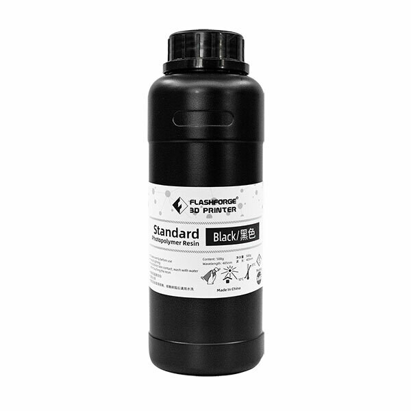 Black Standard Photopolymer Resin (500ml) by Flashforge