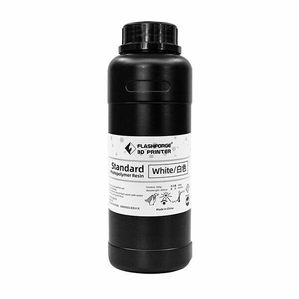 White Standard Photopolymer Resin (500ml) by Flashforge
