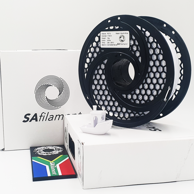 White PetG Filament, 1Kg, 1.75mm by SA Filament