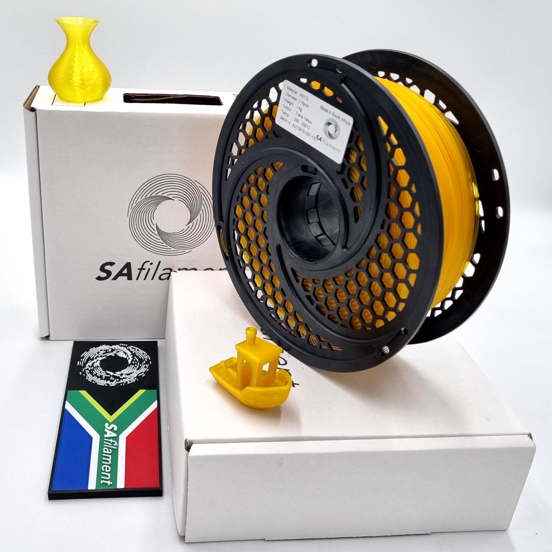 Translucent Yellow PetG Filament, 1Kg, 1.75mm by SA Filament