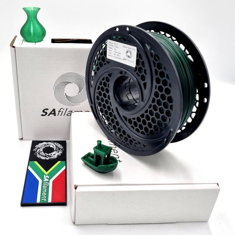 Translucent Green PetG Filament, 1Kg, 1.75mm by SA Filament