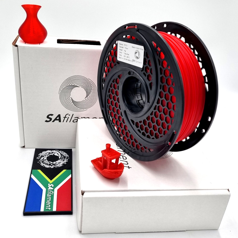 Translucent Red PetG Filament, 1Kg, 1.75mm by SA Filament